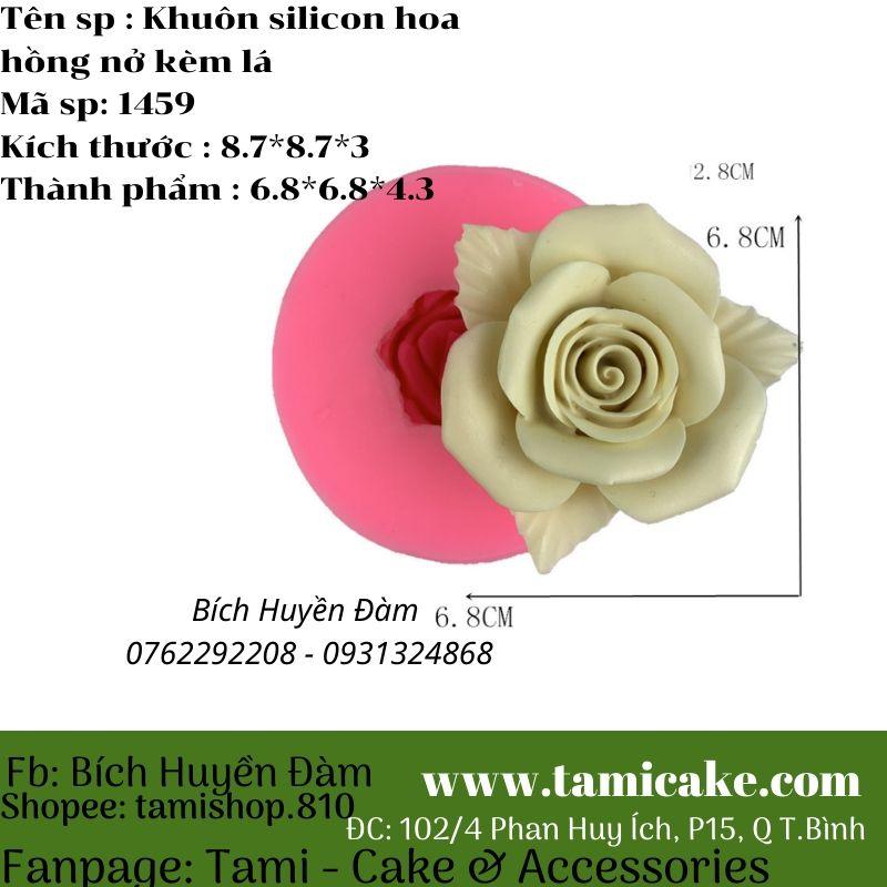 Khuôn silicon hồng nở kèm lá 1459