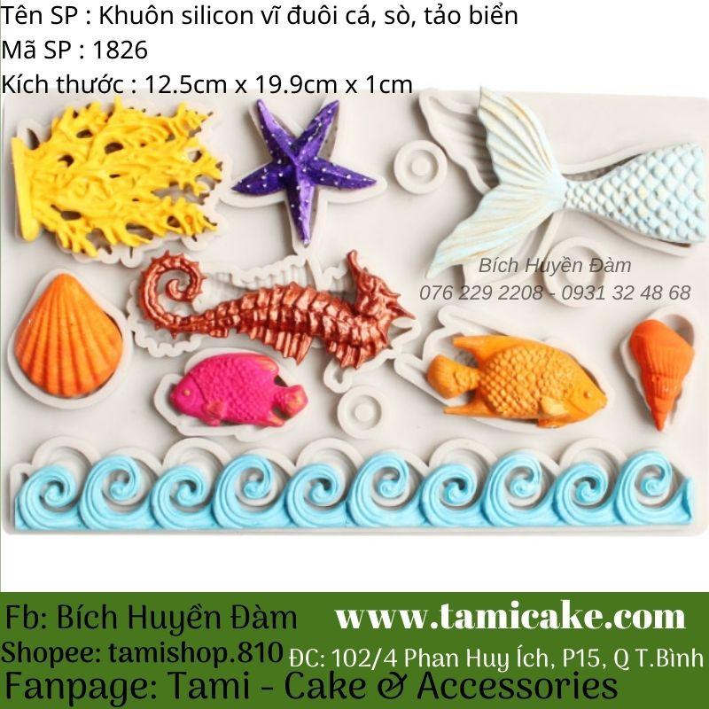Khuôn silicon vĩ đuôi cá, sò, tảo biển 1826