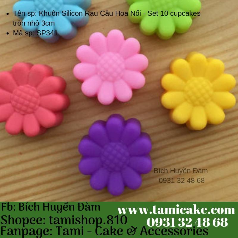Khuôn Silicon Rau Câu Hoa Nổi - Set 10 cupcake Cúc nhỏ 3cm
