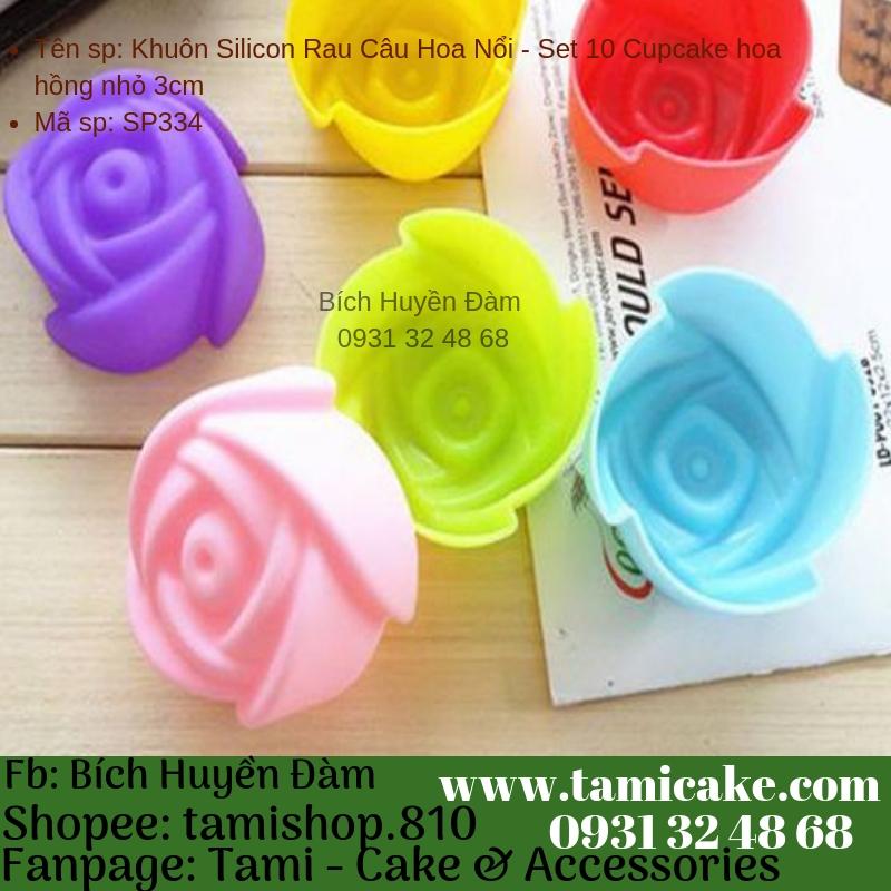 Khuôn Silicon Rau Câu Hoa Nổi - Set 10 Cupcake hoa hồng nhỏ 3cm