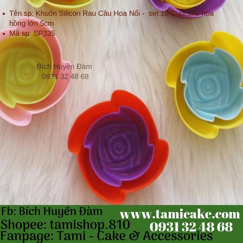 Khuôn Silicon Rau Câu Hoa Nổi - Set 10 Cupcake hoa hồng trung 5cm