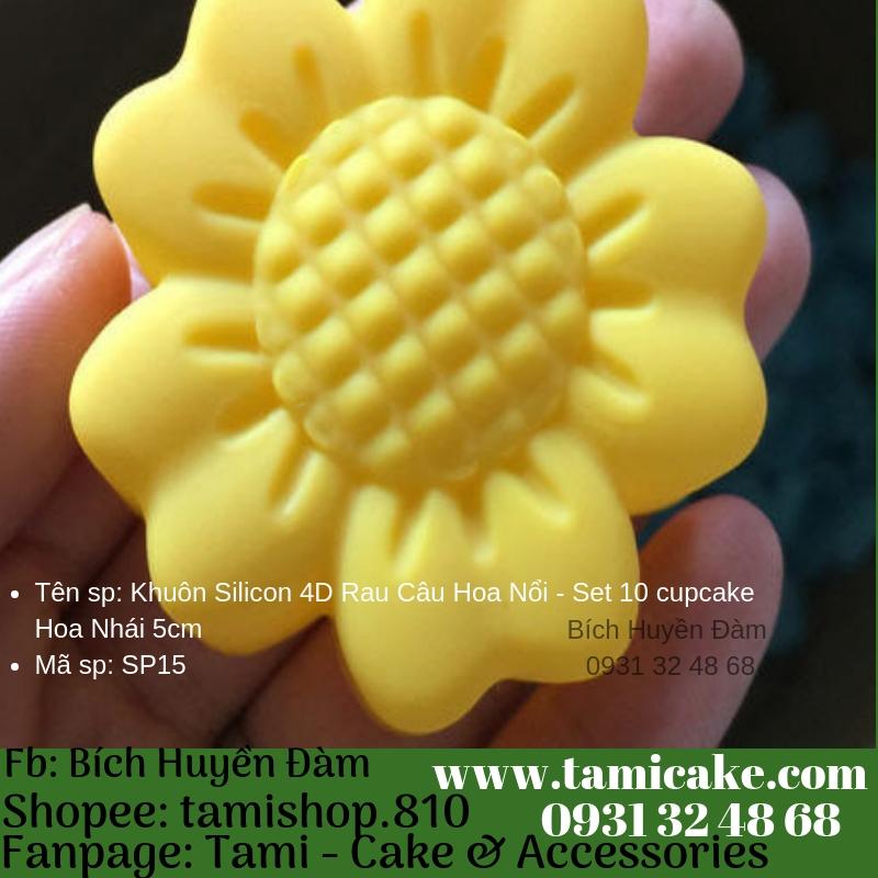 Khuôn Silicon 4D Rau Câu Hoa Nổi - Set 10 cupcake Hoa Nhái 5cm