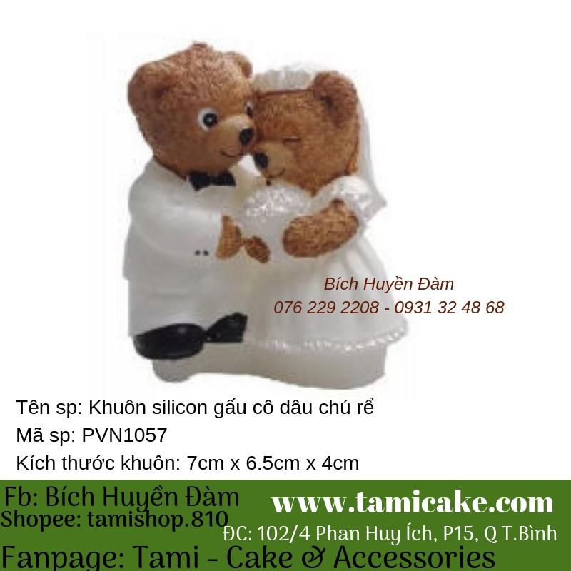 Khuôn silicon - Hình gấu cô dâu chú rể PVN1057