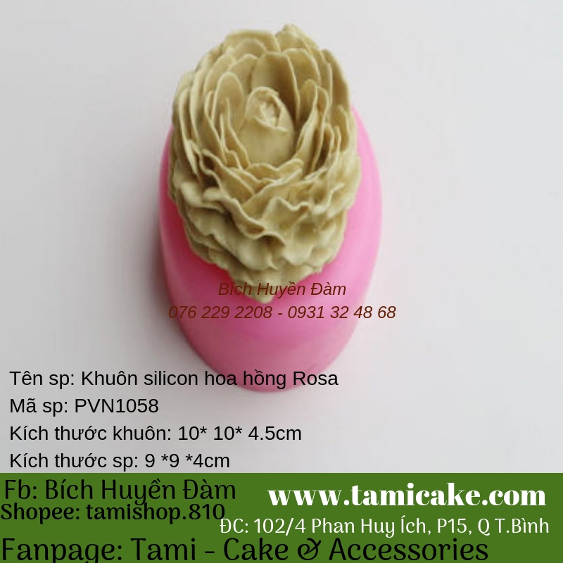 Khuôn silicon- Hồng Rosa PVN1058