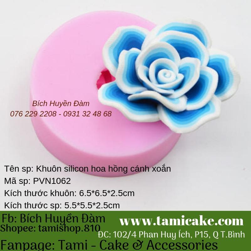 Khuôn silicon hoa hồng cánh xoắn PVN1062