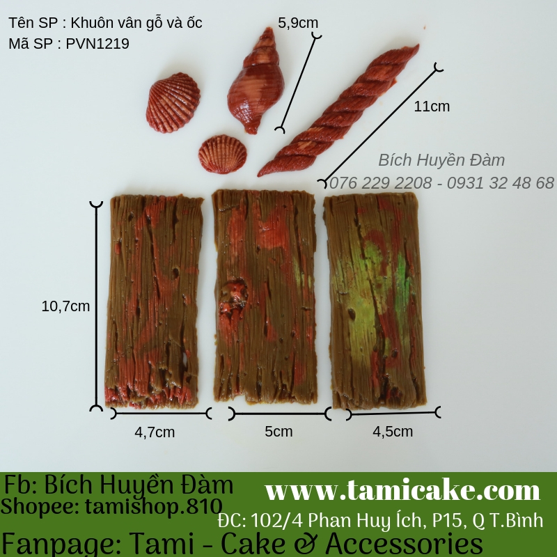 Khuôn silicon vân gỗ và ốc PVN1219