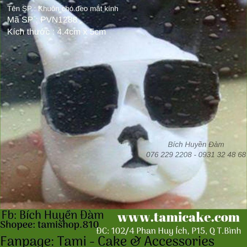 Khuôn silicon hình chó đeo mắt kính PVN1288