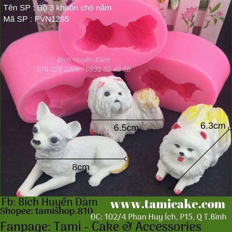 Bộ 3 khuôn silicon chó nằm PVN1295