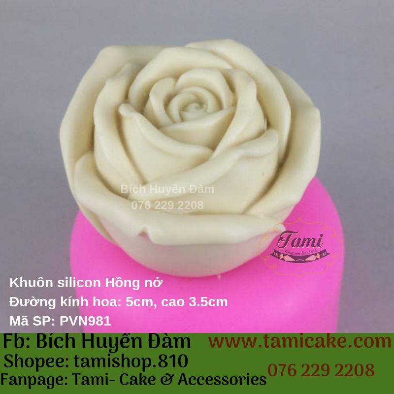 Khuôn silicon rau câu hoa nổi- Hồng nở PVN981