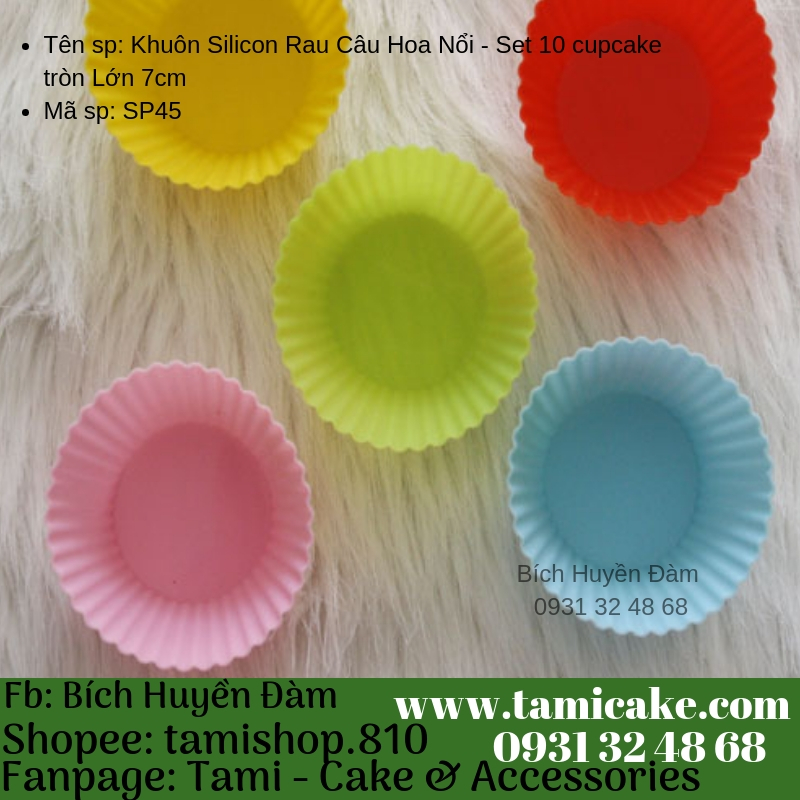 Khuôn Silicon Rau Câu Hoa Nổi - Set 10 cupcake tròn Lớn 7cm