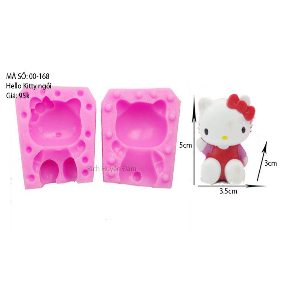 Khuôn Silicon Rau Câu Hoa Nổi - Hello Kitty Ngồi