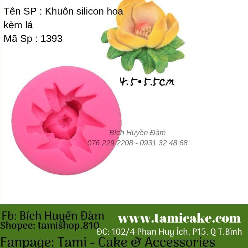 Khuôn silicon hoa kèm lá 1393