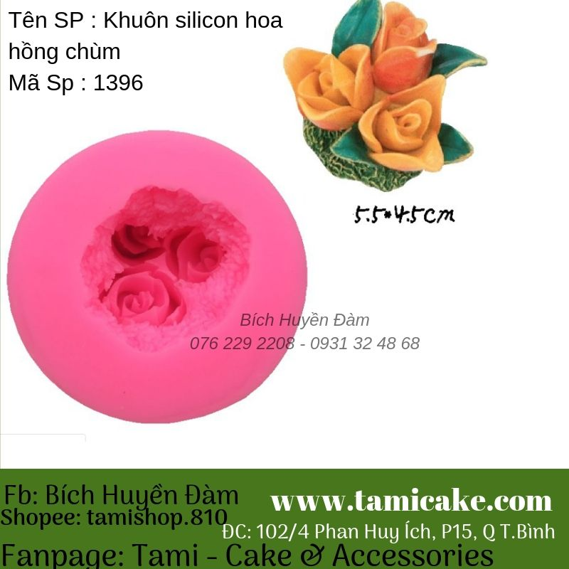 Khuôn silicon hoa hồng chùm 1396