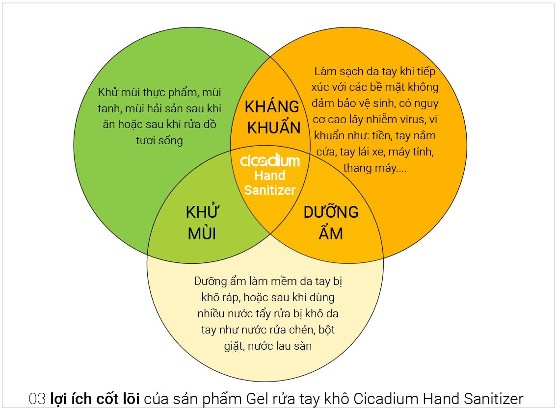 Loi ich gel rua tay kho cicadium hand sanitizer khang khuan, khu mui, duong am