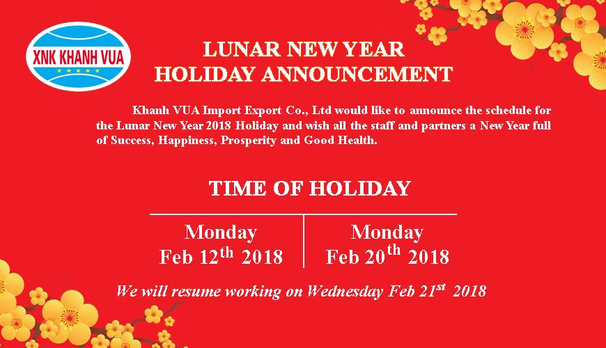 Lunar new year holiday announcement