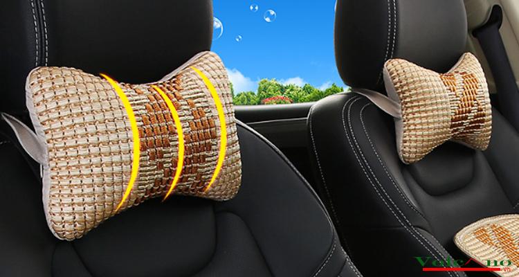 Bộ 02 gối tựa đầu ô tôvỏ sợi lụa đan chống nóng (đen) (Ảnh 7)
