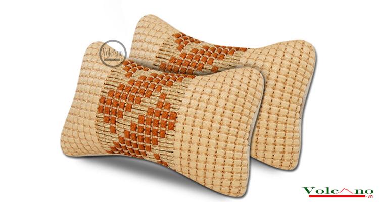 Bộ 02 gối tựa đầu ô tôvỏ sợi lụa đan chống nóng (đen) (Ảnh 1)