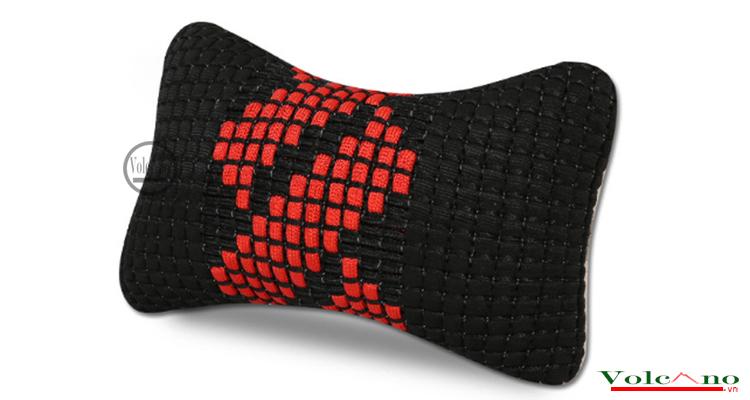 Bộ 02 gối tựa đầu ô tôvỏ sợi lụa đan chống nóng (đen) (Ảnh 3)