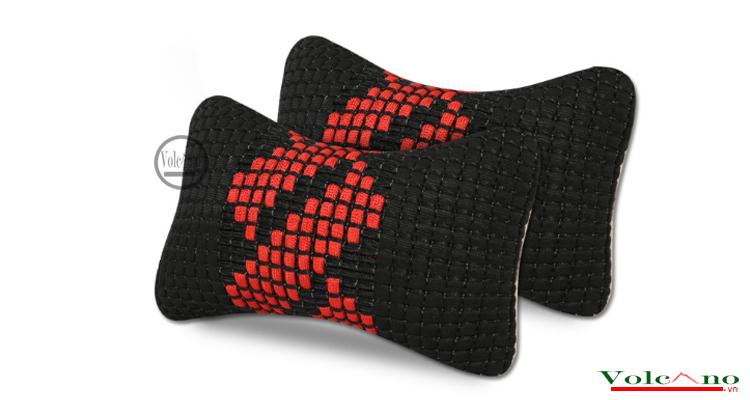 Bộ 02 gối tựa đầu ô tôvỏ sợi lụa đan chống nóng (đen) (Ảnh 2)