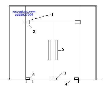 Cửa kính thủy lực 2 cánh 5 tấm