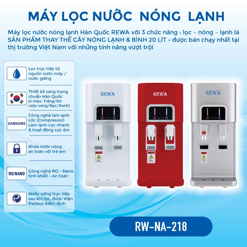 Máy lọc nước nóng lạnh REWA RW - NA - 218.White