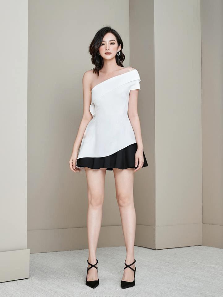 Áo váy kiểu áo lệch vai váy xòe | AlvinStore.Vn