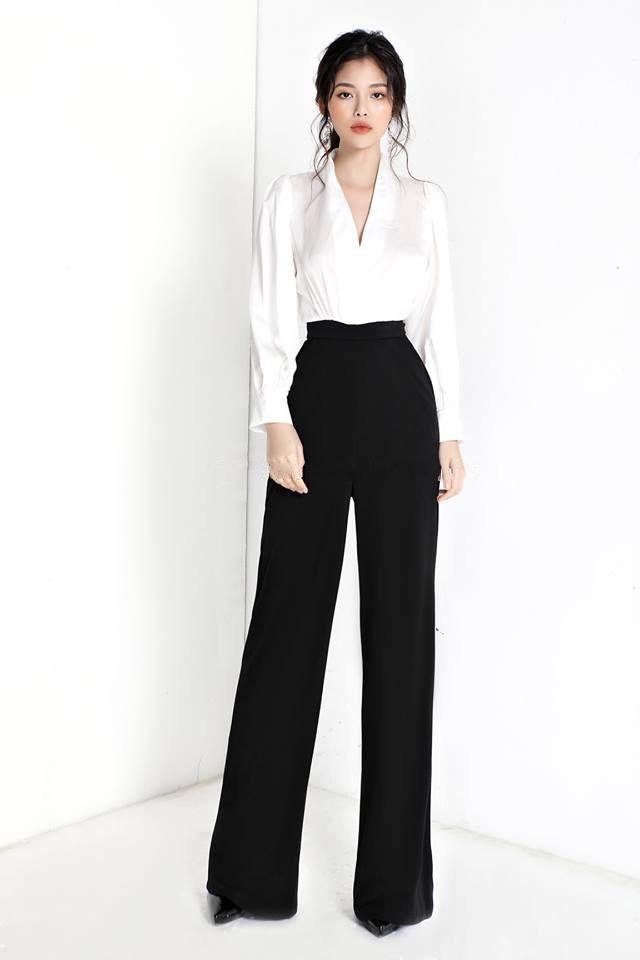 Set áo quần kiểu áo phi tay dài và quần ống suông ( Áo trắng quần đen) |  AlvinStore.Vn