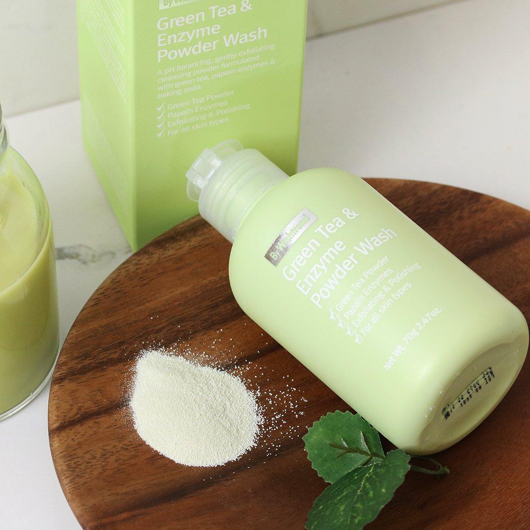 Sữa rửa mặt dạng bột By Wishtrend Green tea & Enzyme Powder Wash 70g