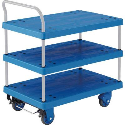 Xe đẩy hàng  3 tầng Trusco - # TP-X805S (Resin 3 Flat shelf Cart w/ Handle)