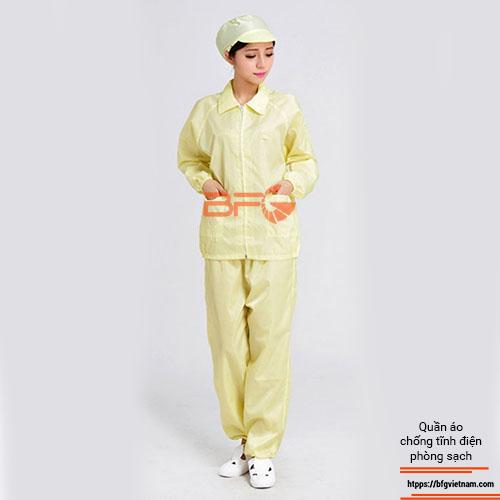 Quần áo phòng sạch chống tĩnh điện màu vàng