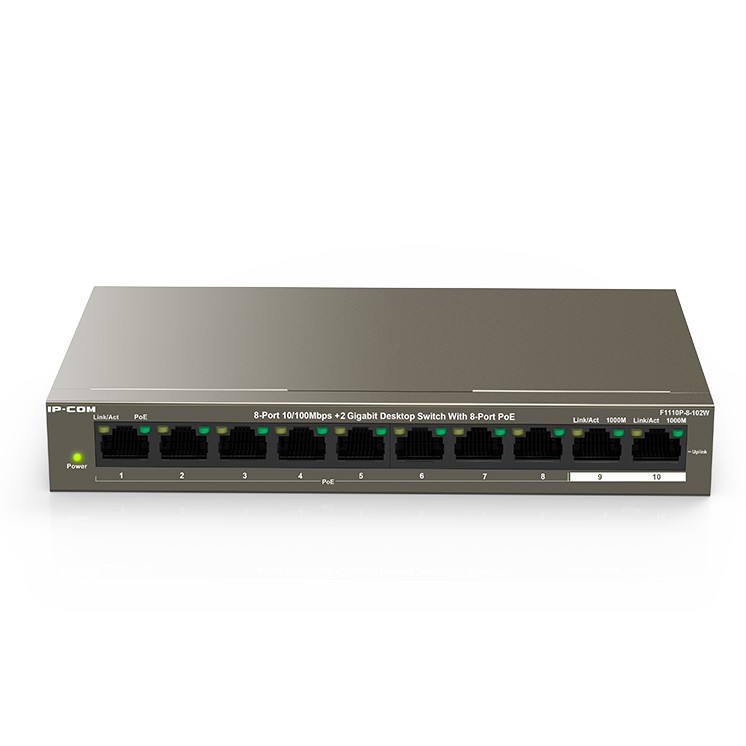 SWITCH IP-COM F1110P-8-102W 8-Port10/100Mbps+2 Gigabit Desktop