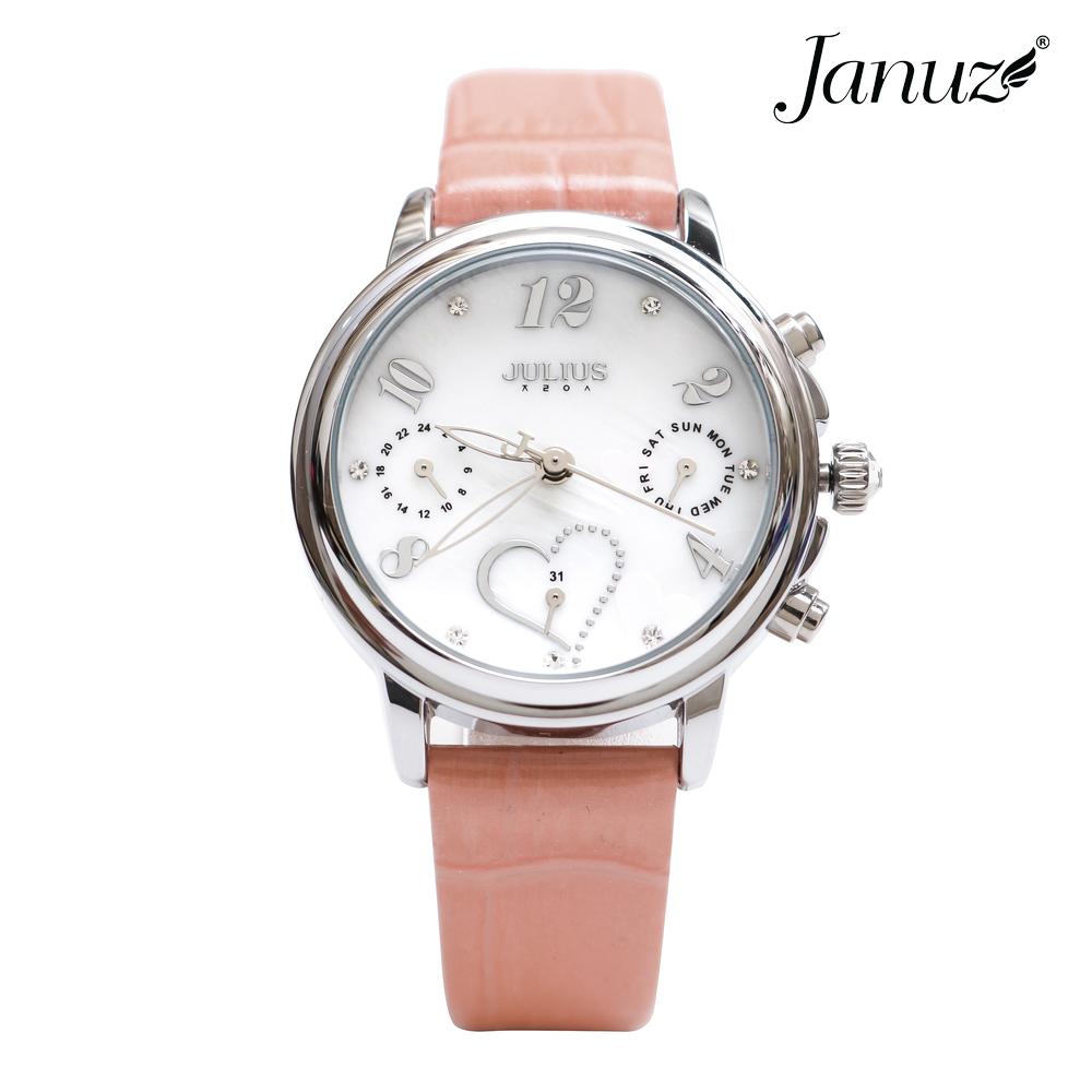Đồng hồ nữ JA-844A Julius Hàn Quốc dây da JU1016 (Hồng)