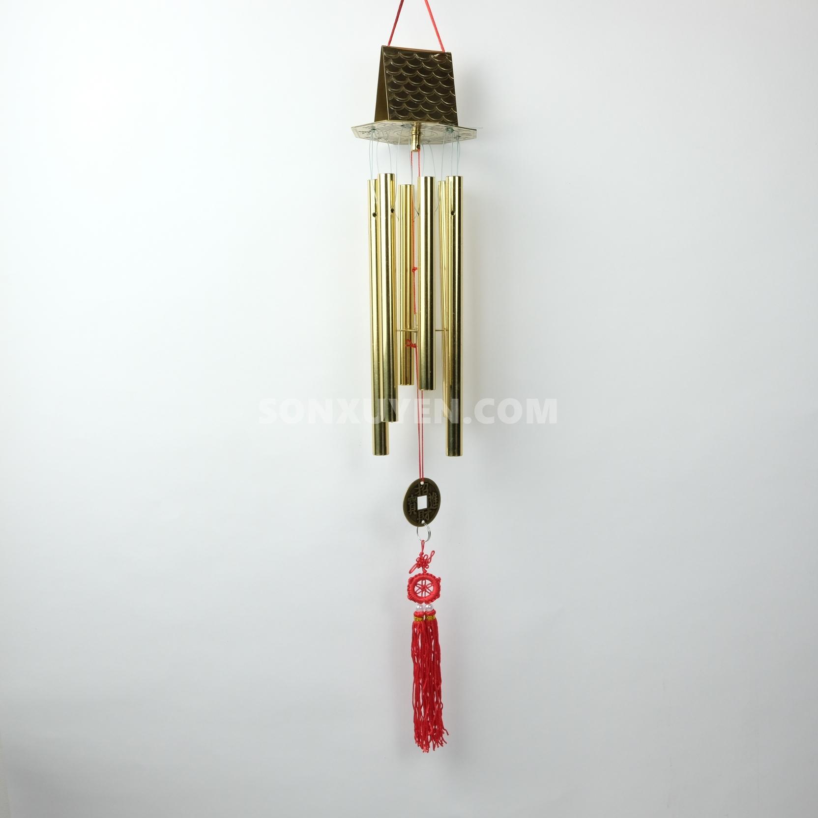 Chuông gió bằng đồng 6 ống có mái có ống dài 22,5 cm đường kính 14 ly