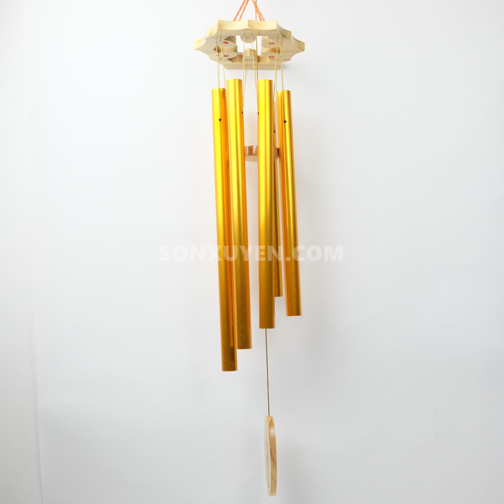 Chuông gió 6 thanh màu vàng ống dài 37 cm có đường kính ống 20 ly