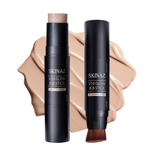 Kem nền kết hợp cọ trang điểm nét mịn dạng thỏi 2 in 1 cao cấp Hàn Quốc chính hãng - V10 Glow B.B Stick Skinaz - 10g