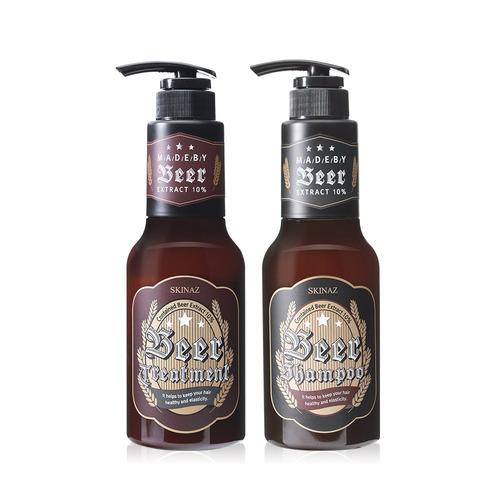 Combo dầu gội đầu & dầu xả cao cấp không Silicone chiếc xuất bia len men, các thảo dược quý phục hồi tóc khỏe mạnh Beer Shampoo & Beer Treatment Skinaz - 500ml