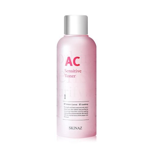 Nước cân bằng da cao cấp 6 in 1 làm sạch sâu trong da, kiềm dầu, se khít lỗ chân lông, ngăn mụn, trắng mịn da, mờ nám tàng nhang AC Sensitive Toner Skinaz Hàn Quốc chính hãng - 180ml