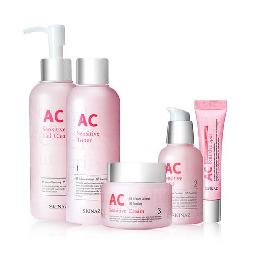 Bộ 5 sản phẩm dưỡng da cao cấp dành cho da nhạy cảm, da dầu, da mụn AC Sensitive Skin Care - Skinaz Hàn Quốc