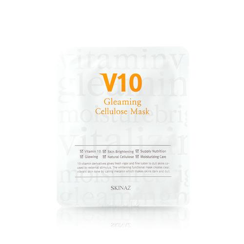 Mặt nạ đắp mặt cao cấp 100% tự nhiên, trắng da, cung cấp 10 vitamin phục hồi da khỏe, kiềm dầu, mịn da V10 Gleaming Cenllulose Mask Skinaz Hàn Quốc - 25g