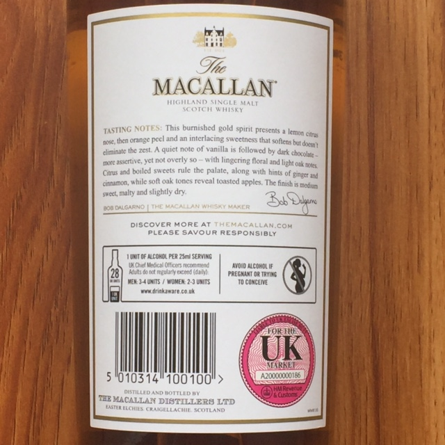bán rượu macallan Gold double cask Uk