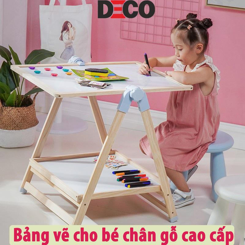 Bảng flipchart 2 mặt cho bé tập vẽ, đồ chơi giáo dục cơ bản, khung gỗ sồi nhập khẩu từ New Zealand sang trọng