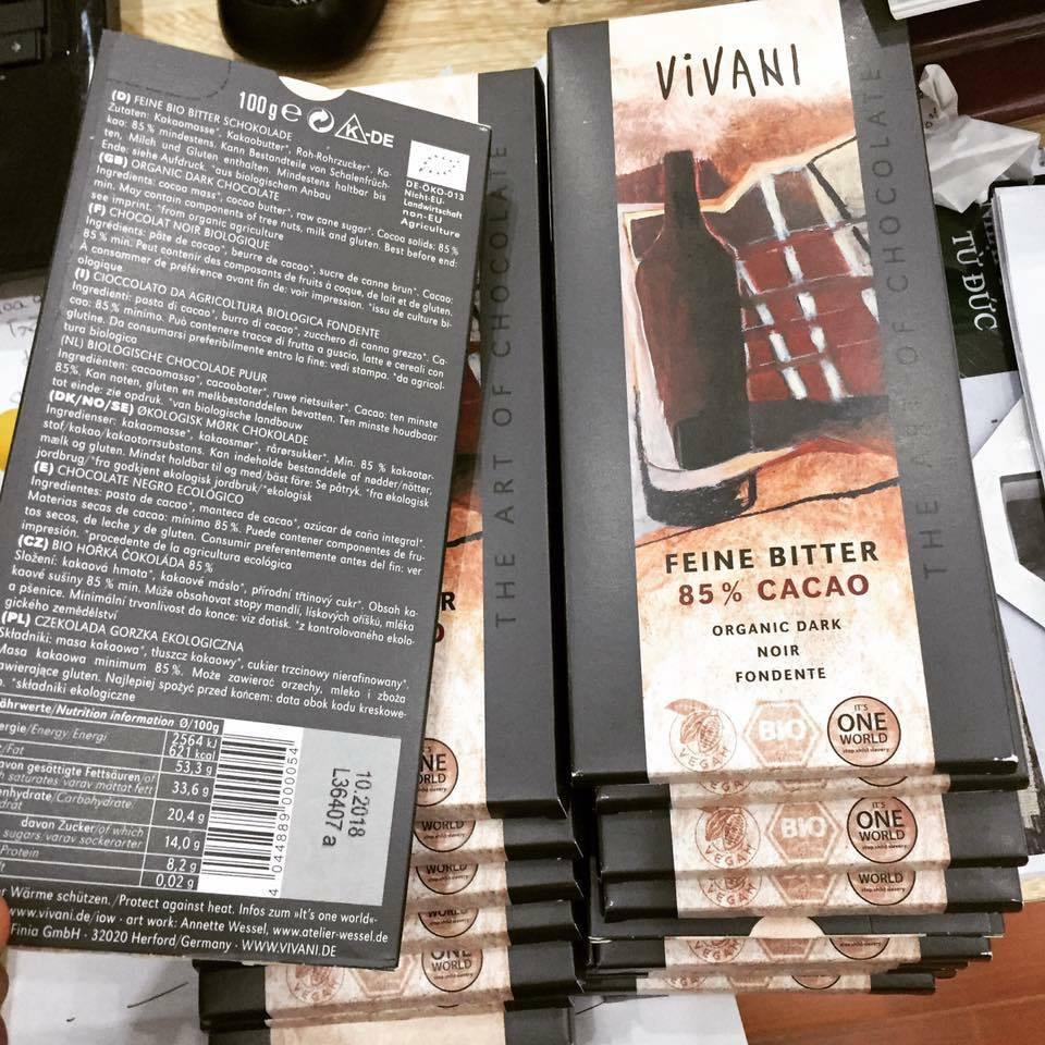 Socola cacao 85% Vivani (100g)