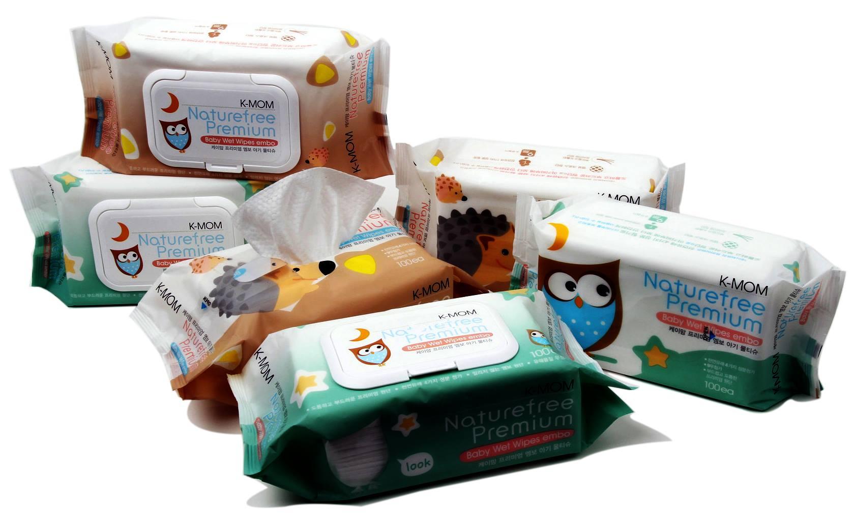 Khăn ướt cao cấp K-Mom Hàn Quốc vân nổi (100c) K-MOM Wet Tissue_Premium_Sticker