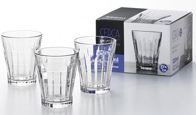 Set 4 cốc thủy tinh kẻ sọc