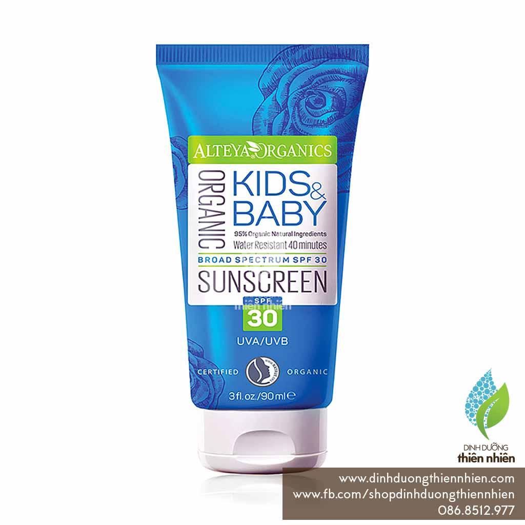Kem chống nắng hữu cơ trẻ em ATE Sunscreen Kids & Baby (90ml) SPF 30
