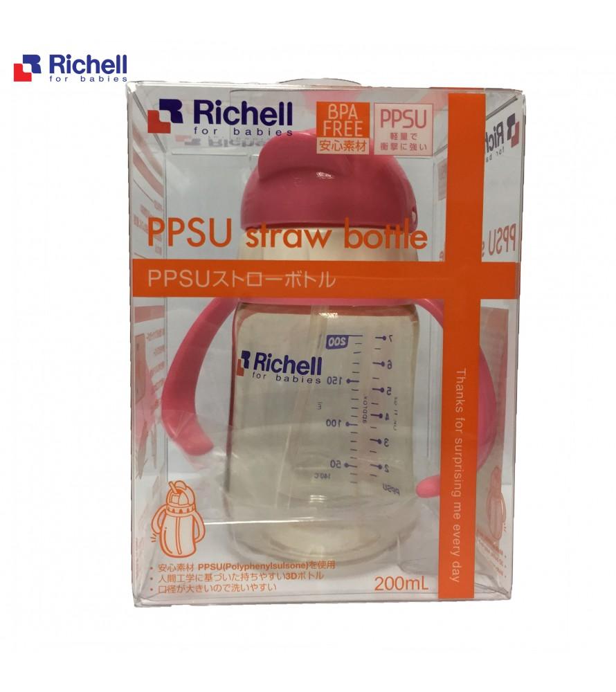BÌNH ỐNG HÚT PPSU RICHELL 200ML HỒNG RC99124