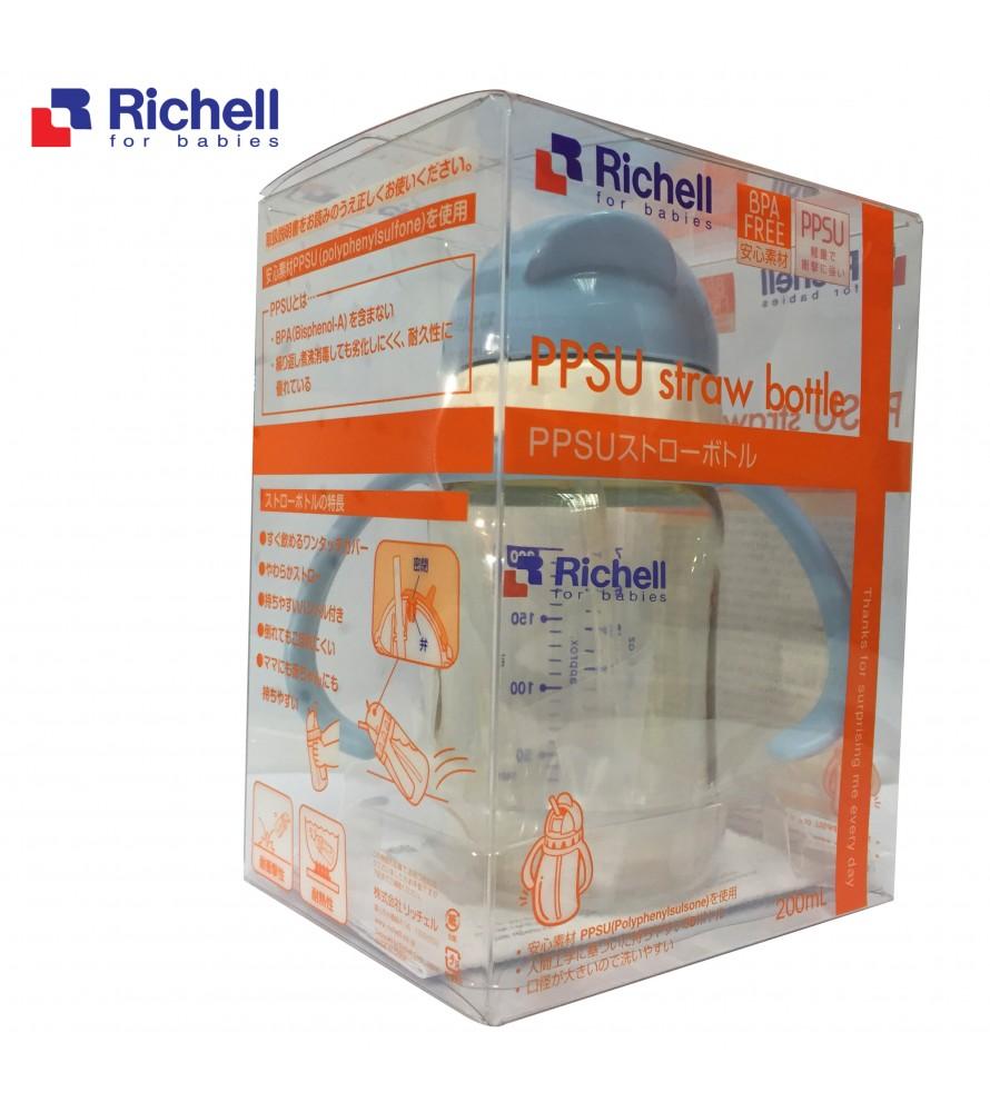 BÌNH ỐNG HÚT PPSU RICHELL 200ML XANH RC99125