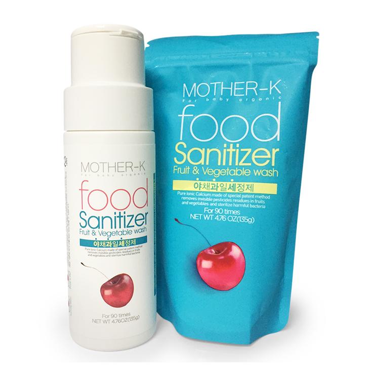 Bột tiệt trùng rau quả Mother-K Hàn Quốc (90 lần dùng) kèm lọ tiện dụng Mother-K Food Sanitizer_refill powder_90loads with empty bottle