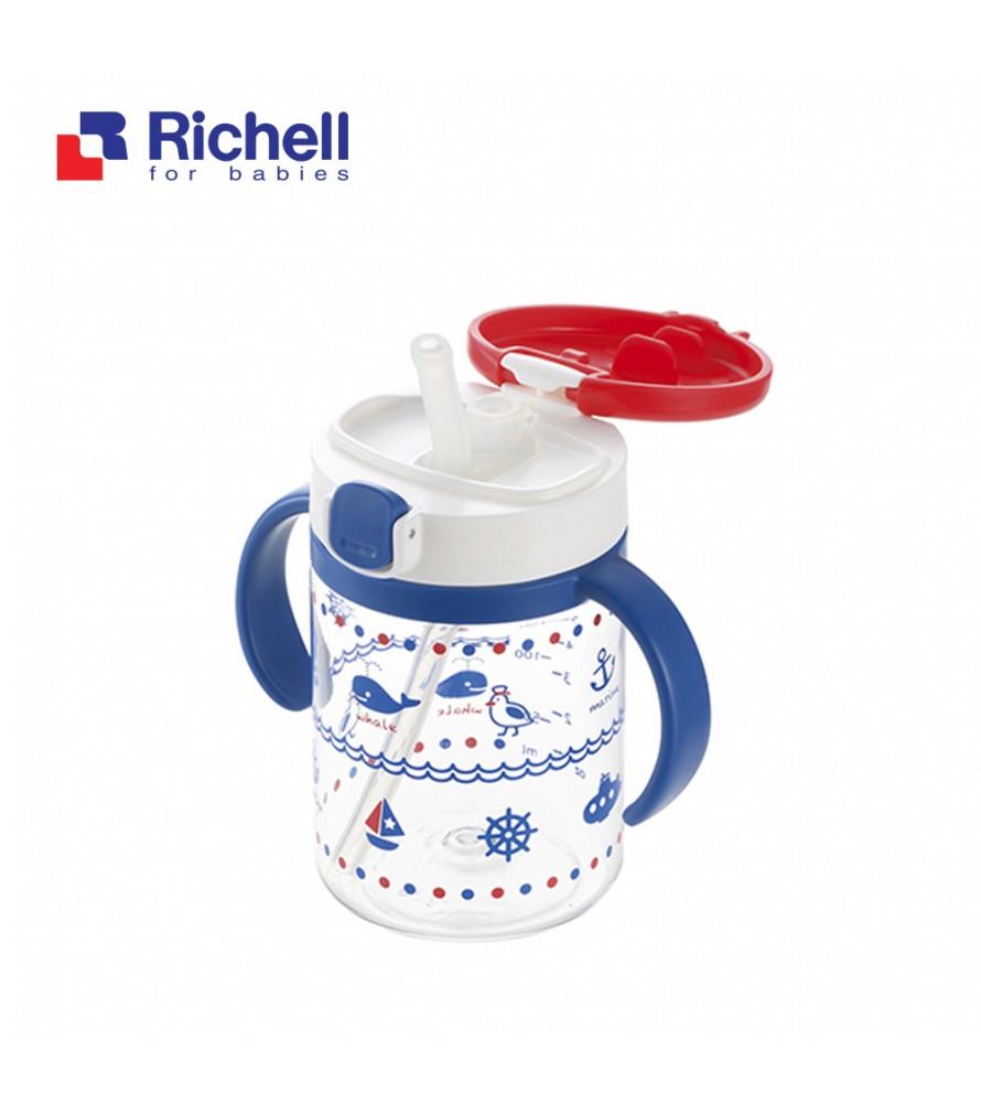 CỐC ỐNG HÚT TAY CẦM XANH RICHELL 200ML RC41021