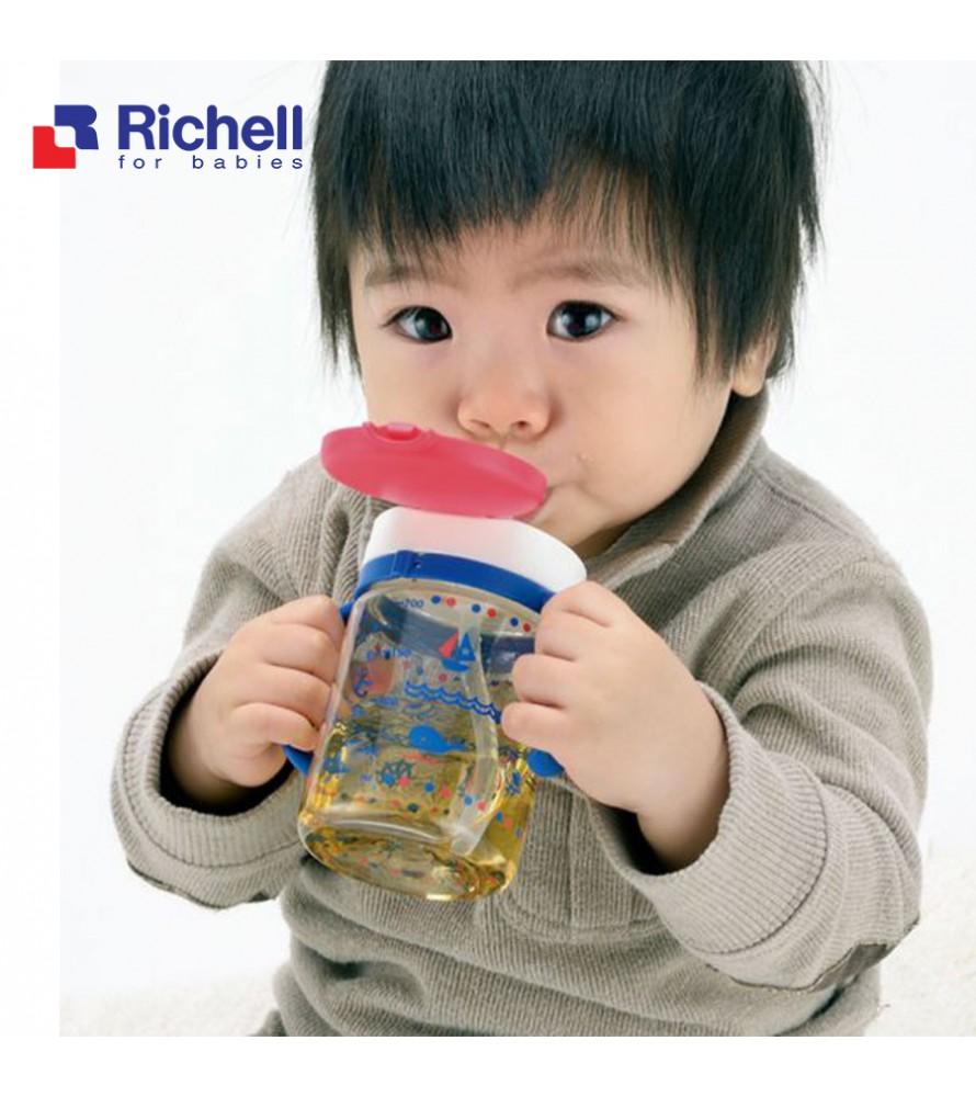 CỐC ỐNG HÚT TAY CẦM XANH RICHELL 320ML RC41031